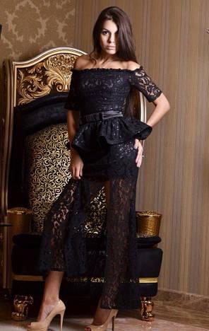 Вечернее гипюровое платье ск031