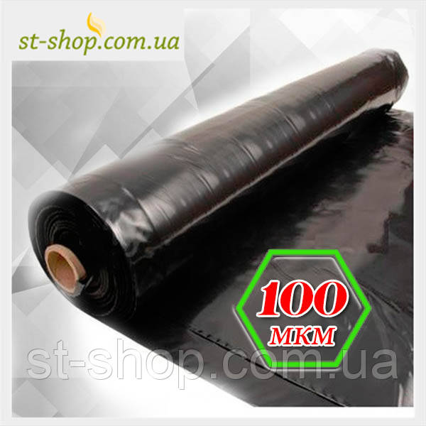 Пленка черная 100 мкм 1,5 м рукав 3 м в развороте (100 мп в рулоне)