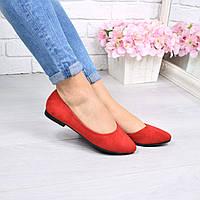 Туфли балетки женские London красные 4375, балетки женские