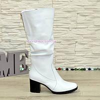 Сапоги женские демисезонные белые кожаные на устойчивом каблуке