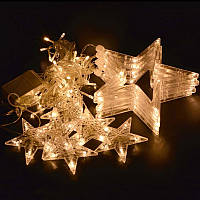 Loskii DX-336 220V Светодиодный String Star Shape Curtain Light Празднование праздника домашнего декора Свадебное