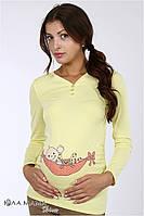 "Облегающий джемпер (лонгслив) для беременных из вискозного трикотажа ""Liv baby"", цвет-банан, фото 1"