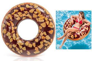 """Надувный круг """"Шоколадный пончик с орехами"""" Intex 56262 (114см)"""