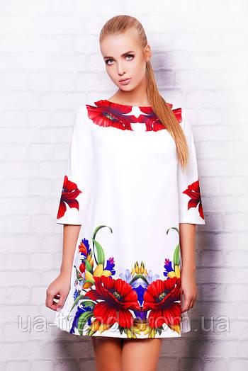 Женское белое платье в красные маки