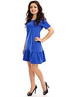Женское платье свободного кроя с воланом внизу синего цвета