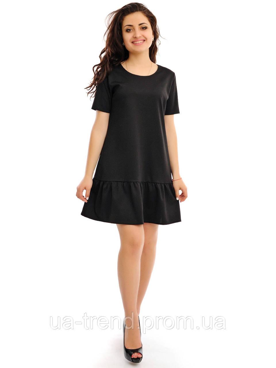 e1664d25ba3 Черное женское платье трапеция с воланом внизу - Интернет-магазин  украинского текстиля
