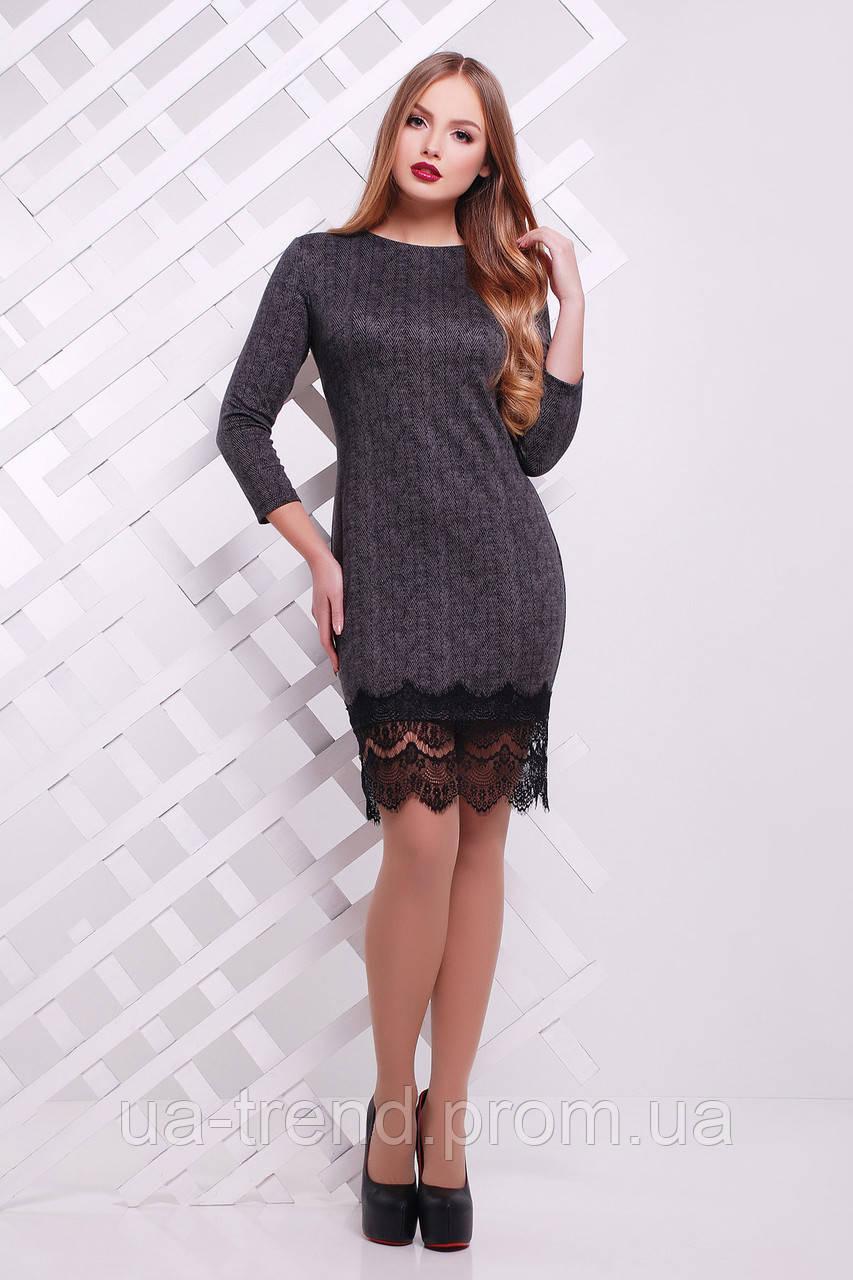 Модное платье с кружевным низом