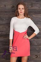 Короткое женское платье белое с розовым