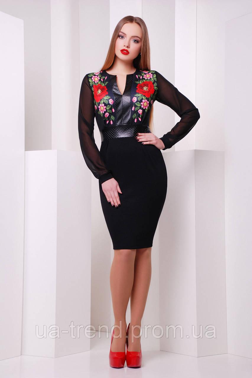 Черное платье с рукавами из шифона и принтом с маками