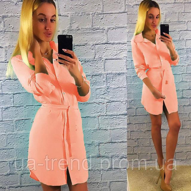Модное платье-рубашка с поясом