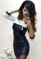 Короткое приталенное платье из кожзама