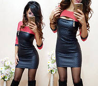 Женское мини-платье из кожзама