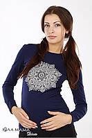 """Трикотажный джемпер (лонгслив) для беременных """"Brooke mandala"""", синий, фото 1"""