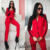 Женский костюм из брюк и пиджака с лампасами в расцветках 16396JK