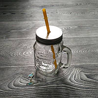 Кружка банка с трубочкой для напитков (jar with straw) 400 мл.