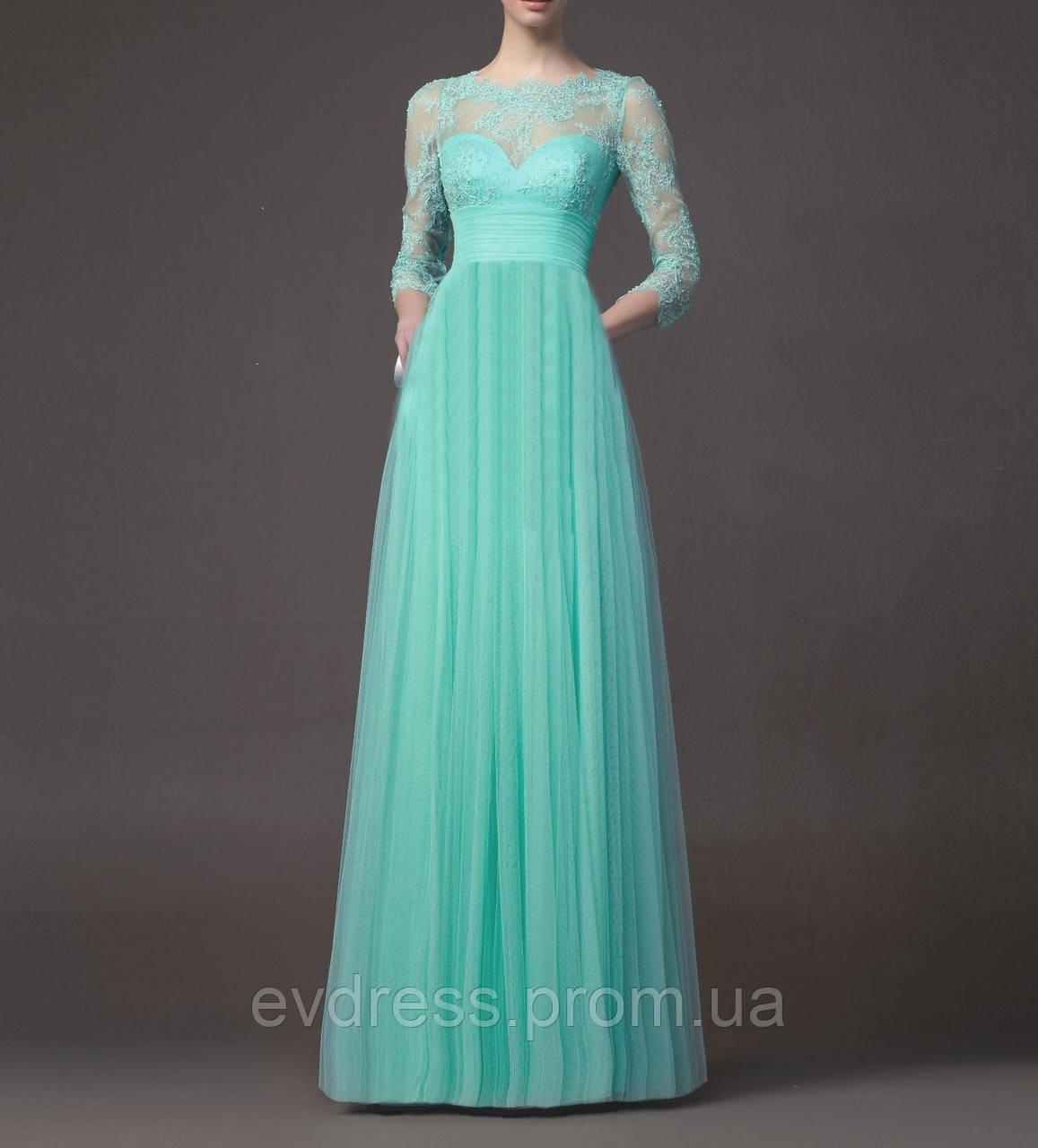 39661f4e4d3 Бирюзовое Длинное Вечернее Платье с Рукавами 3 4 на Выпускной SH-15091 -  Интернет