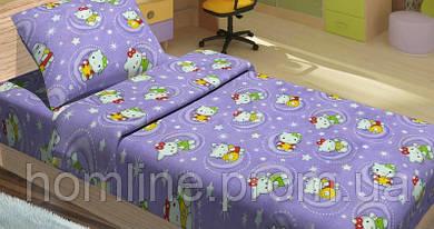 Постельное белье для подростков Lotus Young ранфорс Hello Kitty Star V2 лиловый полуторный размер