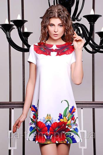 Роскошное белое платье в красные маки