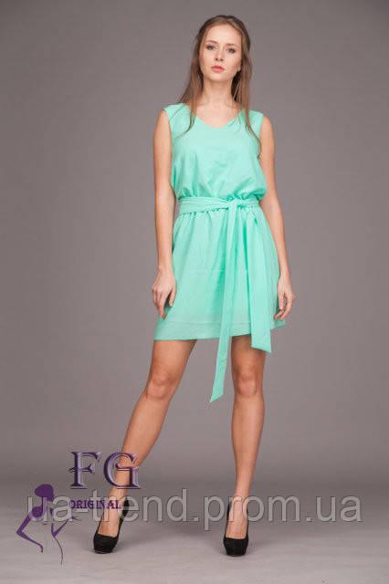 d15c789b4be Шифоновое платье свободного прямого силуэта мятного цвета