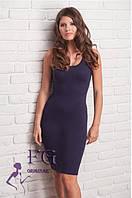 Повседневное летнее платье облегающего силуэта синего цвета