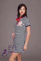 Женское платье тельняшка прямое с рубашечным воротником