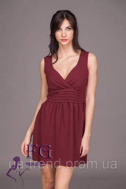 Женское платье из креп-шифона бордового цвета в стиле бэби-долл