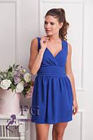 Женское платье из креп-шифона цвета электрик в стиле бэби-долл