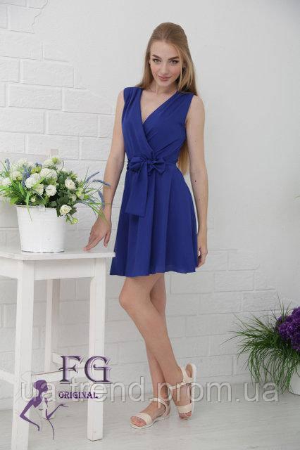 Модный сарафан на лето синего цвета