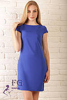 Летнее платье-трапеция синего цвета