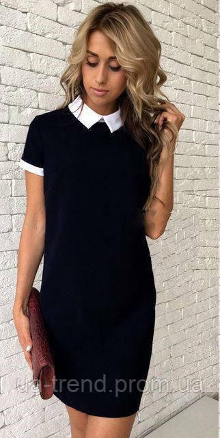Черное платье с белым воротником размер 48 - Интернет-магазин украинского  текстиля