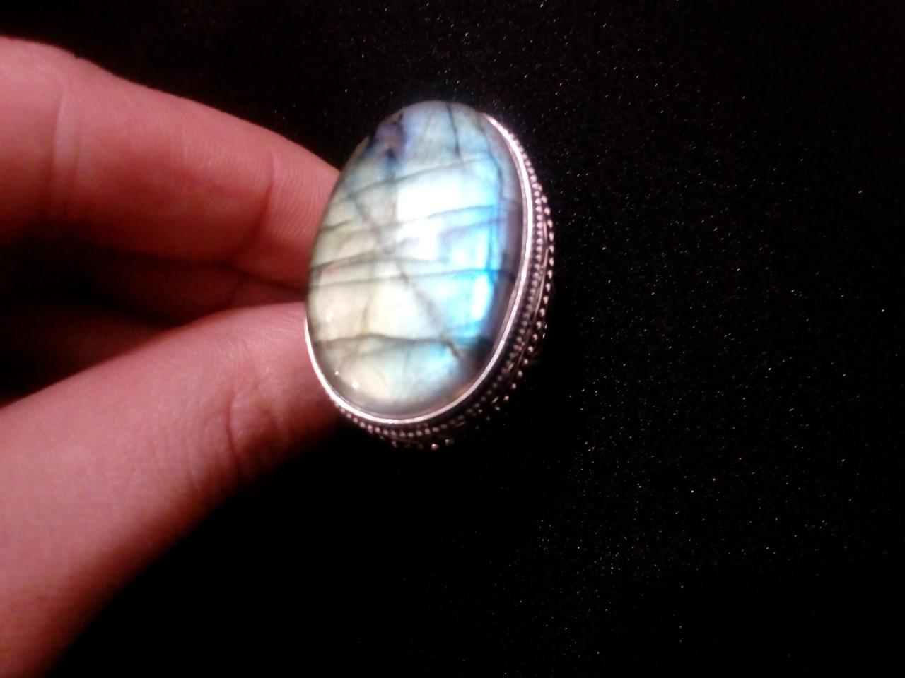 Красивое кольцо с натуральным камнем лабрадор в серебре. Кольцо с лабрадором 19 размер Индия