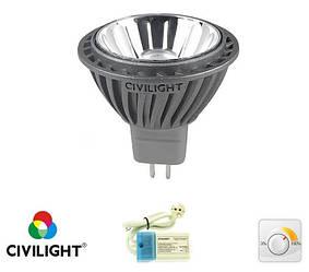 LED лампа MR16 GU5.3 диммирумая 8W(350Lm) (2700K) DMR16 WP01T8 HALED Civilight (Сивилайт)