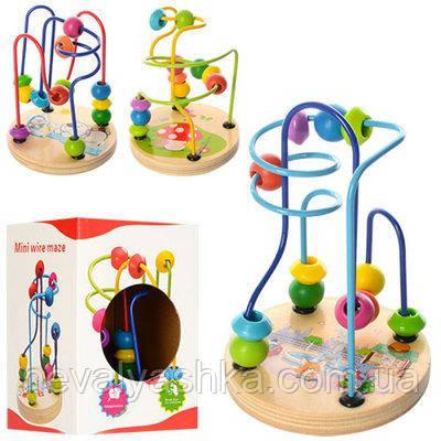 Деревянная игрушка Лабиринт небольшой с бусинами, XY-5822, 003750