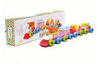 Бесплатная доставка. Детский деревянный конструктор поезд Cubika(Кубика) 11889. Деревянные эко игрушки