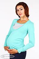 """Джемпер (лонгслив) для беременных и кормящих """"Layma"""", мята с серым меланжем, фото 1"""