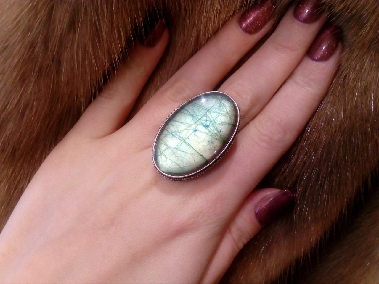 Красивое кольцо с натуральным камнем лабрадор в серебре. Кольцо с лабрадором 19,5-19,8 размер Индия