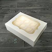 "Коробка ""Молочная"" с окошком для 12-ти кексов"
