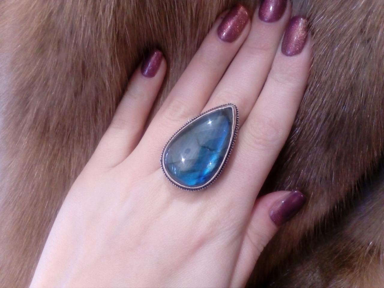 Красивое кольцо капля лабрадор в серебре 19,5 размер. Кольцо с лабрадором Индия