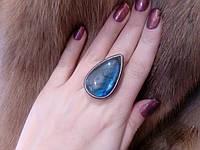Красивое кольцо капля лабрадор в серебре 19,5 размер. Кольцо с лабрадором Индия, фото 1