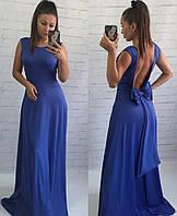 Бальное женское платье макси с открытой спиной и бантом