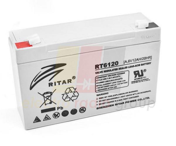 Аккумуляторная батарея AGM RITAR RT6120, 6V 12Ah  (151х50х101 мм) Q20