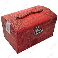 Стильный сундук для бижутерии с замком из кожзама 3 Цвета Красный Размер: 30х18х19 см