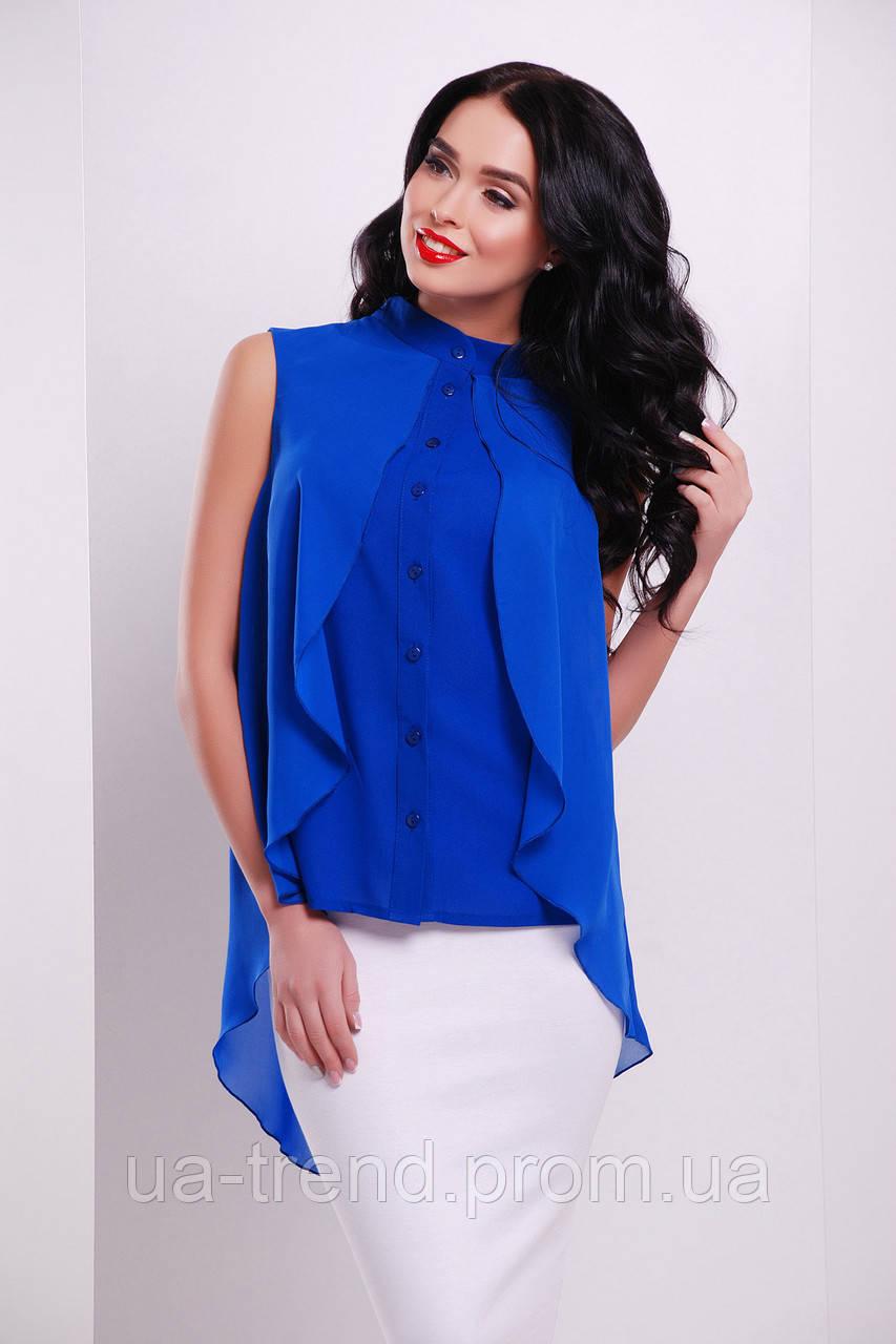 ea8ed504602 Синяя блузка с пелериной из шифона - Интернет-магазин украинского текстиля