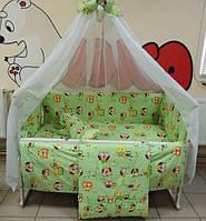 Детское постельное белье в кроватку салатовые совы Gold 9в1 120х60см