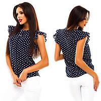 Женская летняя блуза из шифона в горошек