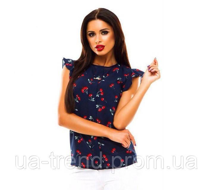 Женская летняя блузка в вишенки