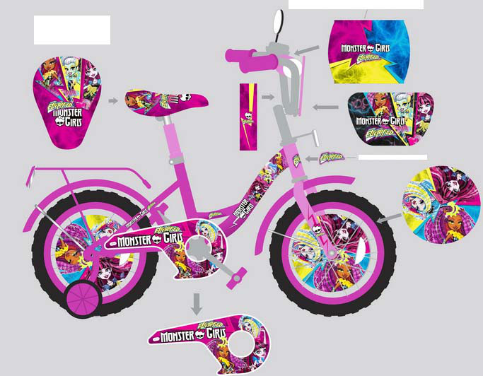 """Велосипед двухколесный 18 дюймов """"Monster girls"""" со звонком, зеркалом, ручным тормозом"""