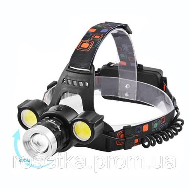 Фонарик налобный Police BL-878 T6 COB, мощный фонарь на лоб