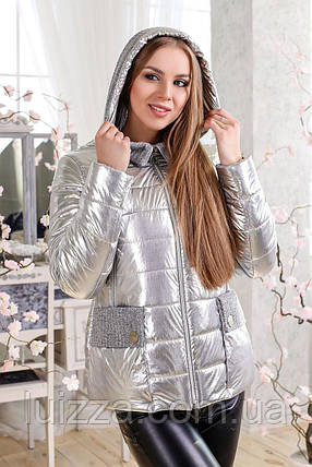 Женская куртка Фольга, серебро 44-48. 54 р светлое серебро 50, фото 2