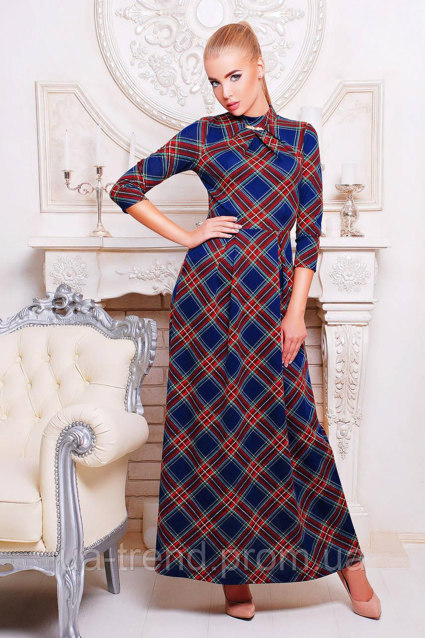 Длинное женское платье с рукавом три четверти